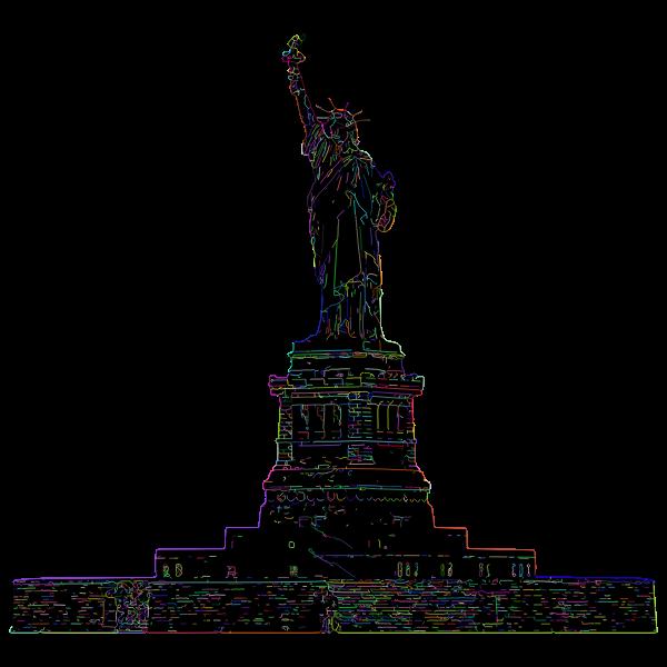Statue Of Liberty Line Art Strokes Prismatic
