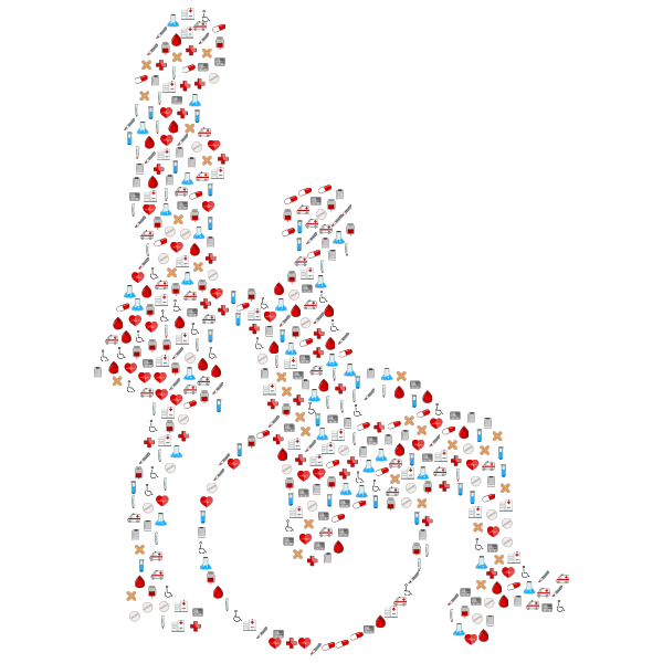 Woman Pushing Man In Wheelchair Silhouette Medical Icons