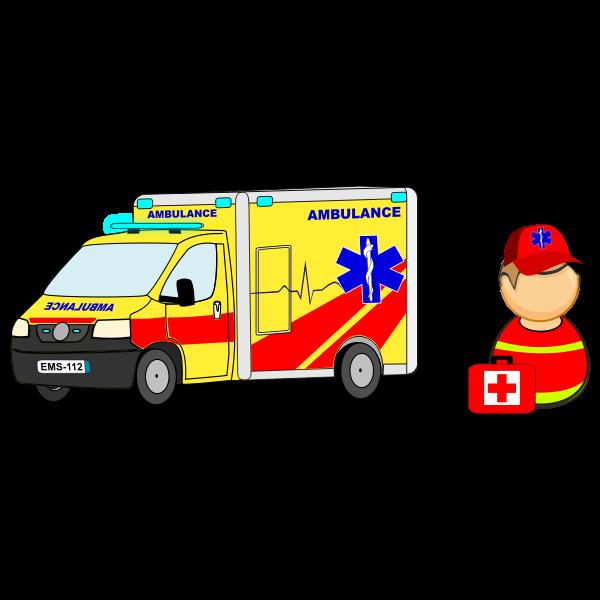 Ambulance car / truck and paramedic