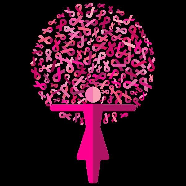 Woman Pink Ribbons Tree