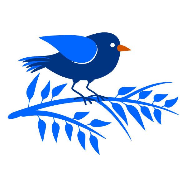Blue branch and a bird