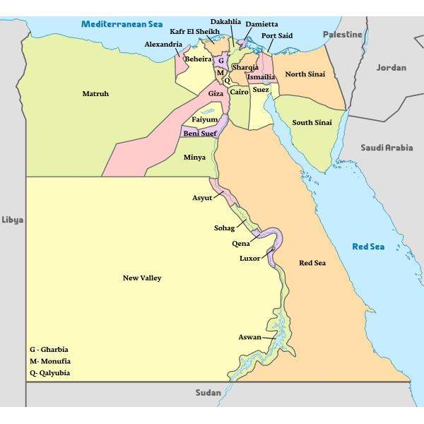 Egypt, administrative divisions map