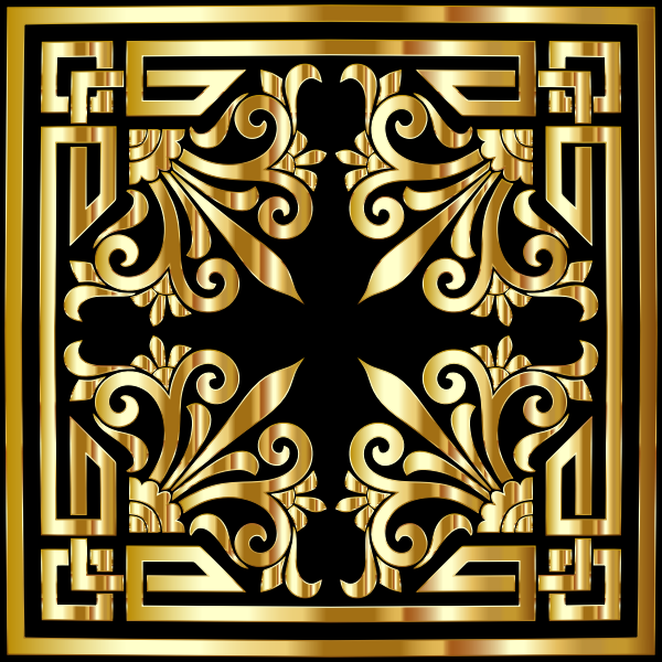 Vintage Greek Flourish Design Gold