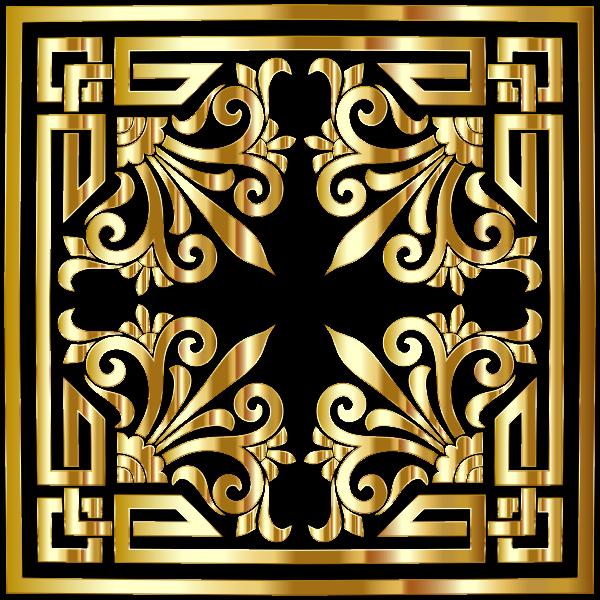 Vintage Greek Flourish Design Gold No BG