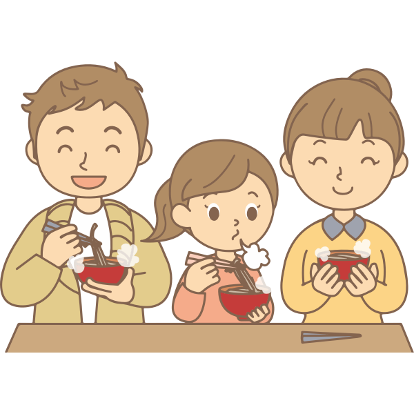 Family Eating Noodles
