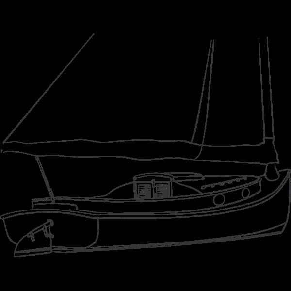 Catboat vector drawing