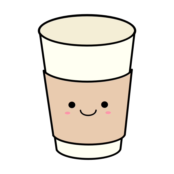 Kawaii paper coffee or tea cup