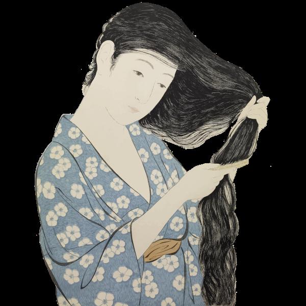 Hashiguchi Goyo Woman Combing Her Hair
