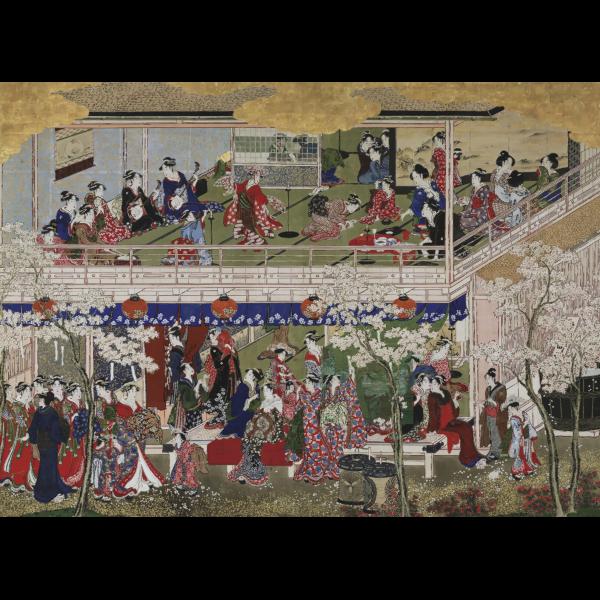 Cherry Blossom Viewing In Yoshiwara Edo Kitagawa Utamaro