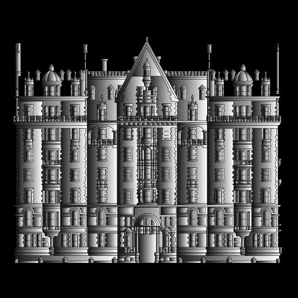 Intricate Building Line Art Duochrome