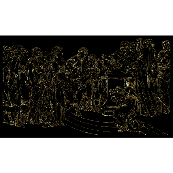 Gathering Of People Line Art Gold