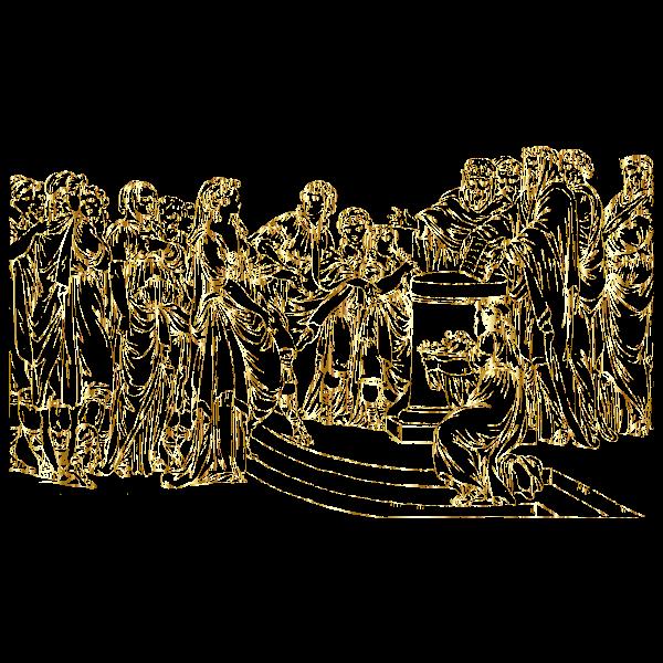 Gathering Of People Line Art Gold No BG