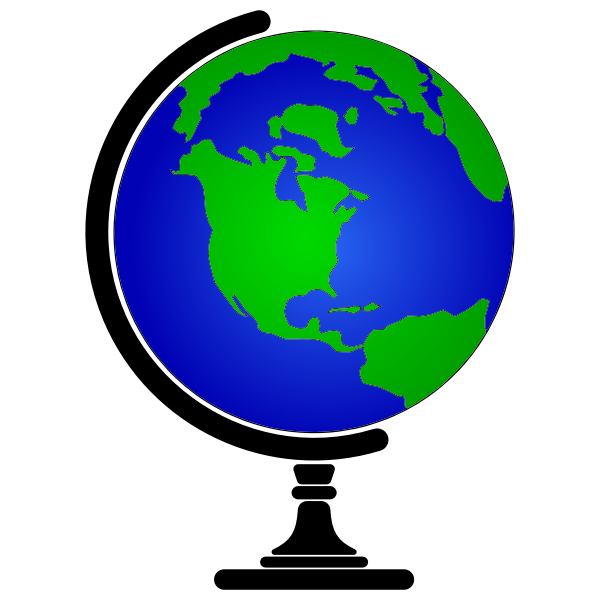 Simple Blue Earth Globe With Stand