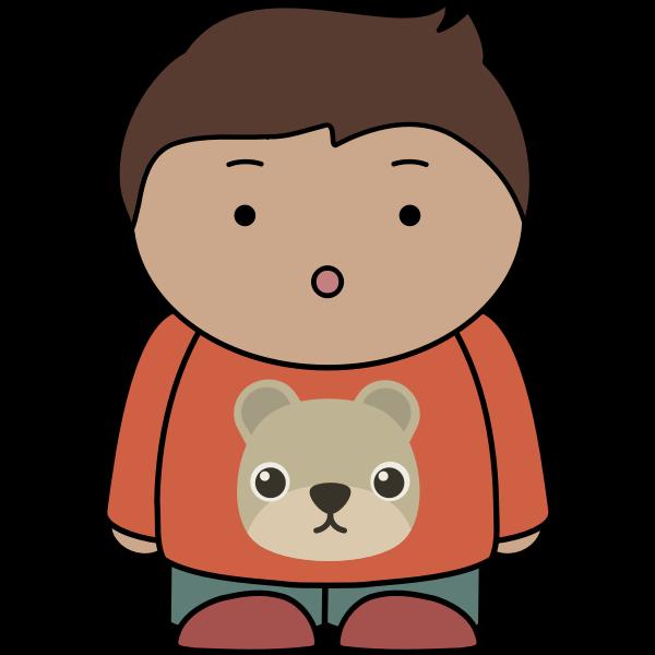 Surprised kid with teddy bear