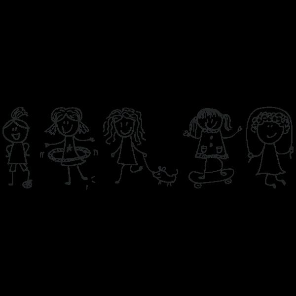 Girls Playing By Zizitom Line Art