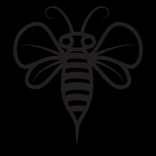 Bee monochrome silhouette