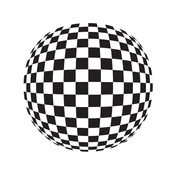 Checkered pattern globe shape