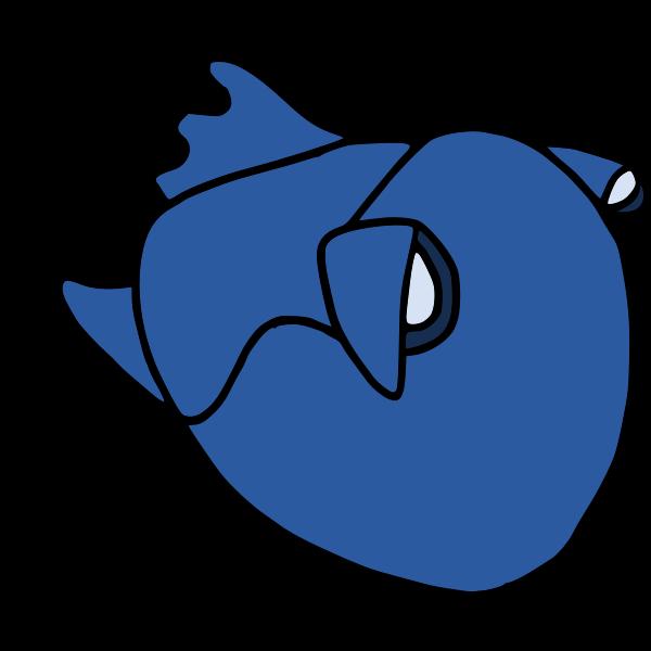 Cartoon blue fish 2