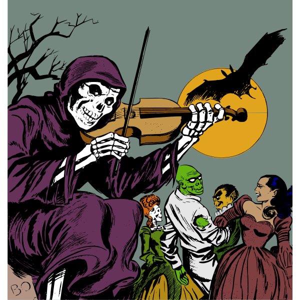 Skeleton playing at a monster ball