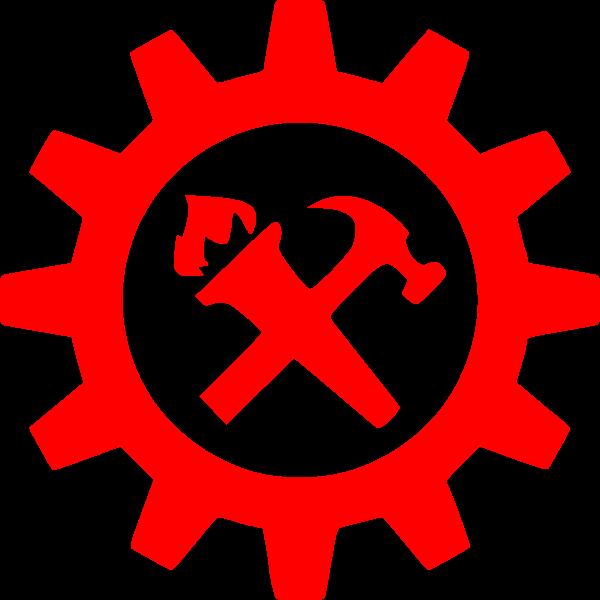 Hammer torch and cog symbol
