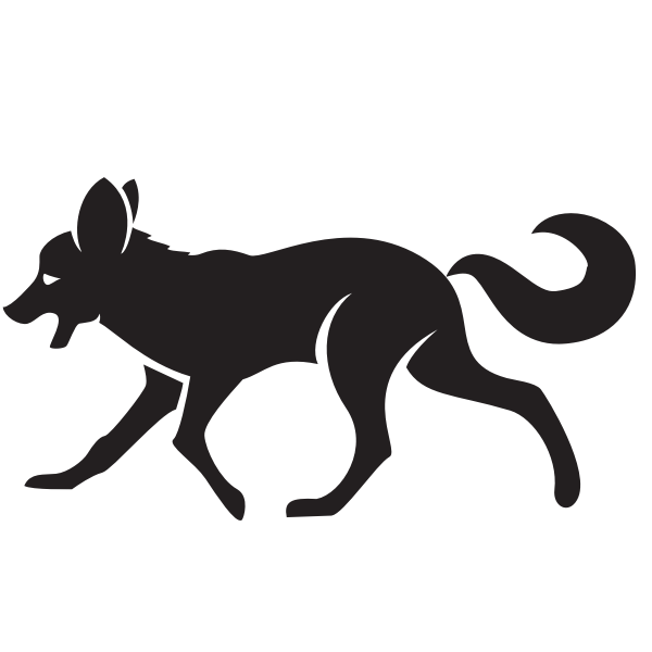 Silhouette of a fox clip art