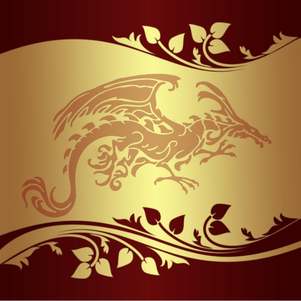 Red and Gold Tribal Dragon card