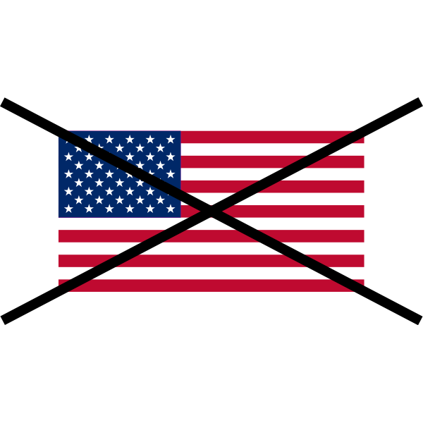The Flag of the United States crossed out