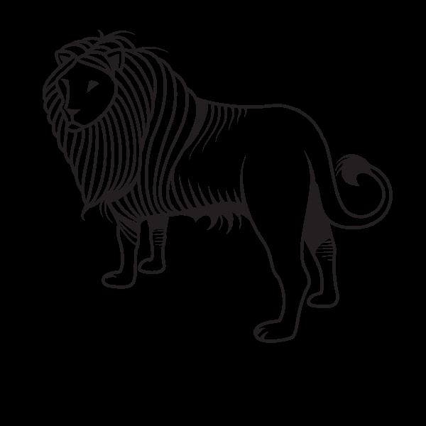 Lion silhouette monochrome art