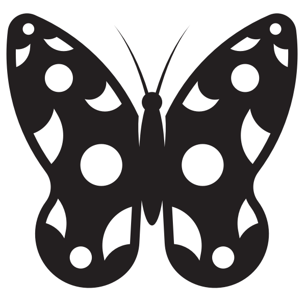Butterfly with white spots silhouette
