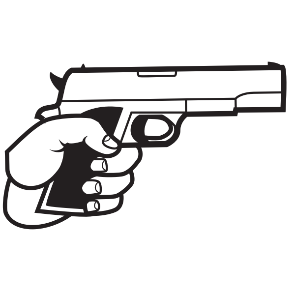 Gun in hand silhouette | Free SVG