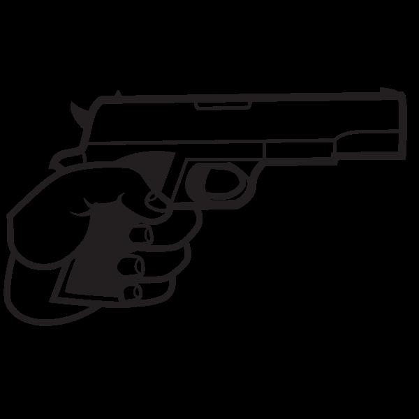 Gun in hand silhouette