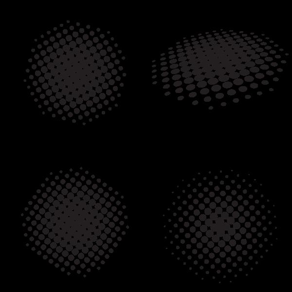 Halftone elements silhouette