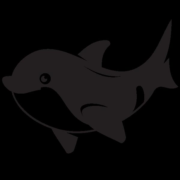 Dolphin silhouette cartoon style