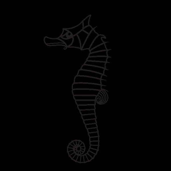 Seahorse silhouette black and white