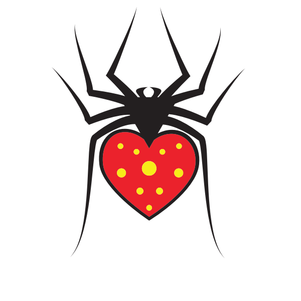 Spider with red heart
