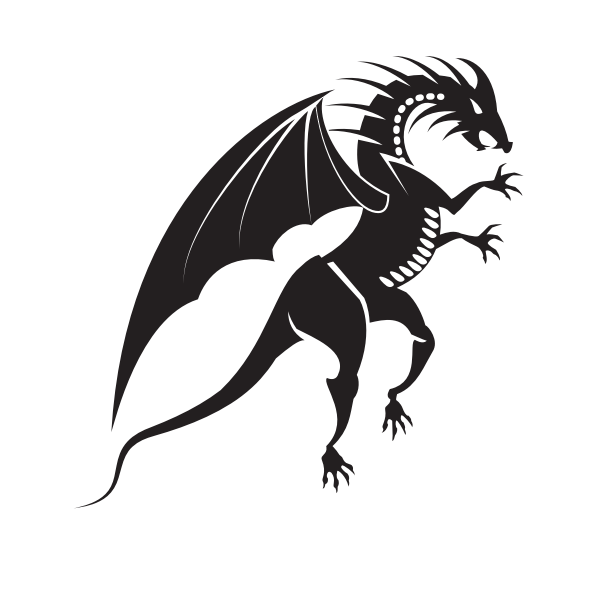 Dragon silhouette tribal style