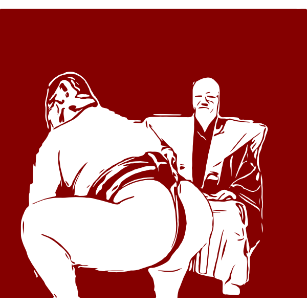 Sumo wrestler and referee - red outline
