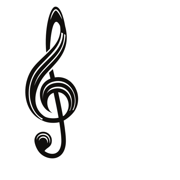 Musical key symbol silhouette
