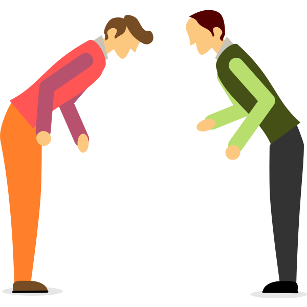 Two Men Bowing in Suits | Free SVG