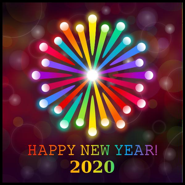 Happy New Year 2020 Rainbow