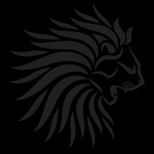 Heraldic lion head silhouette