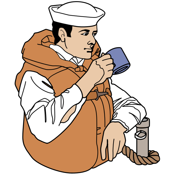 Navy Sailor Drinking Coffee - Colour