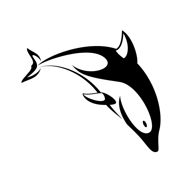 Dolphin silhouette black white