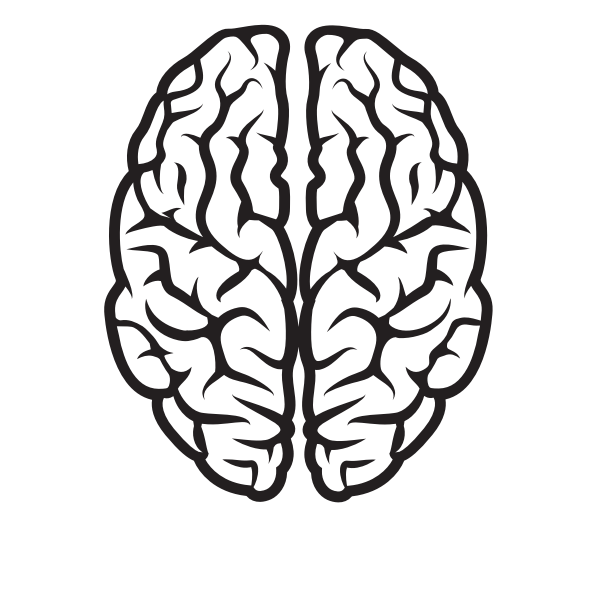 Brain silhouette black and white