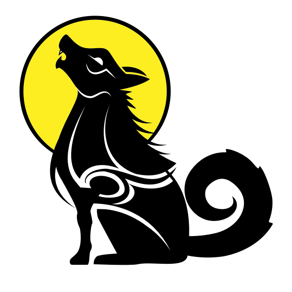 Wolf tribal style silhouette