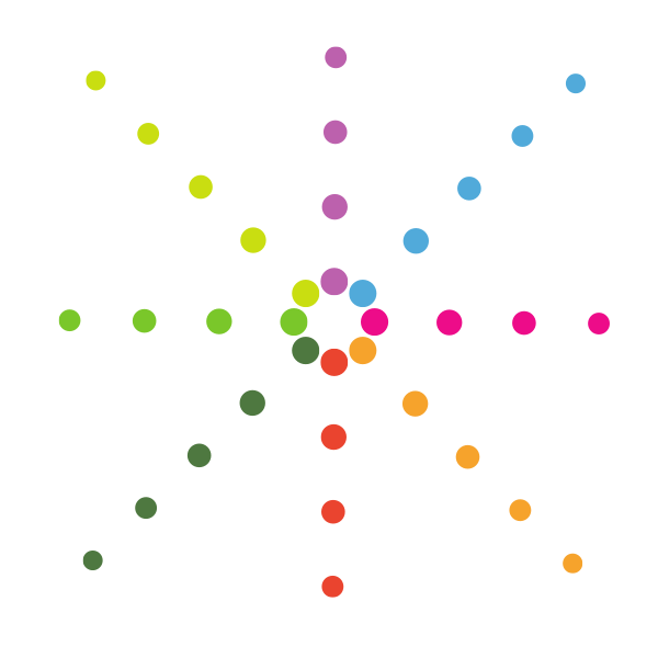 Geometric shape with colored dots