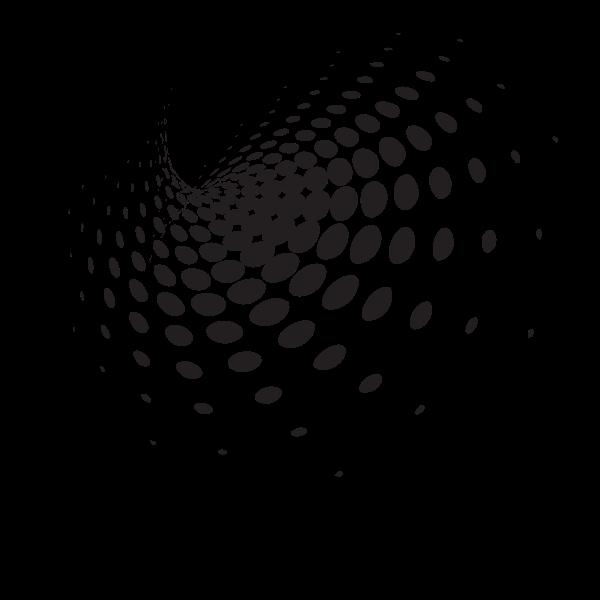 Swirling halftone shape