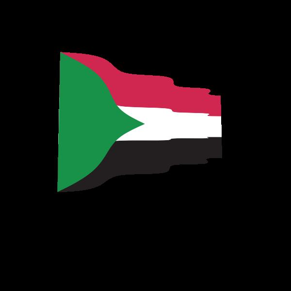 Waving flag of Sudan