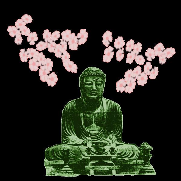 Big Buddha and Cherry Blossoms