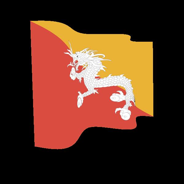 Waving flag of Bhutan